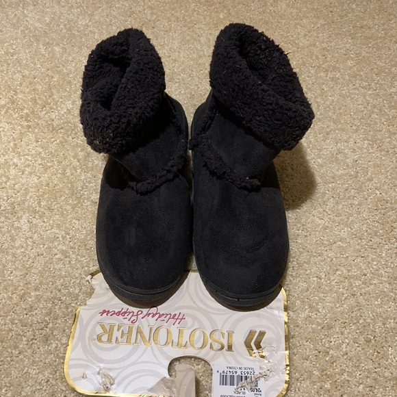Isotoner black boot style Slippers